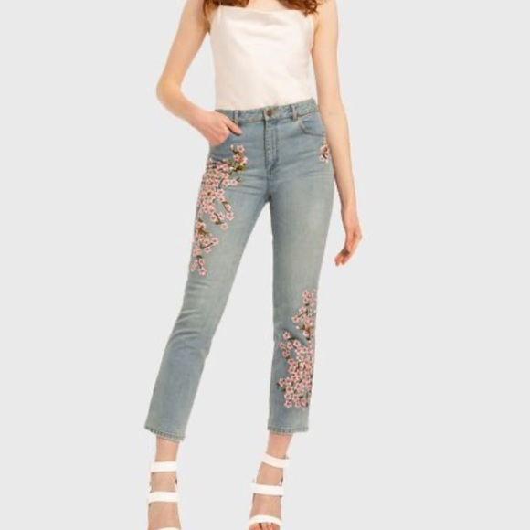 Alice & Olivia embroidered high rise jeans